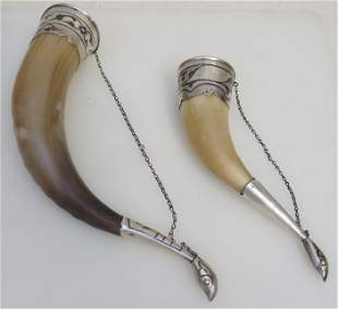TWO RUSSIAN SILVER MOUNTED DRINKING HORNS