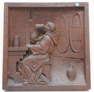 LARGE BLACK FOREST CARVED WALL PLAQUE