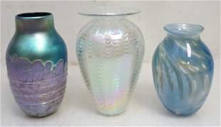 3 VINTAGE SIGNED STUDIO ART GLASS VASES