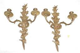 PAIR FRENCH GILT BRONZE WALL SCONCES
