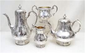 1864 ENGLISH 4 PC STERLING SILVER TEA & COFFEE SERVICE
