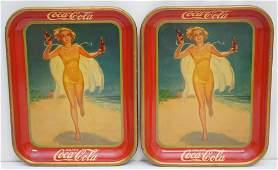PAIR ORIGINAL 1937 COCA COLA TRAYS