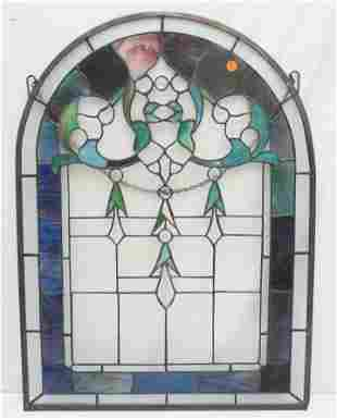 STAINED GLASS ARCHED WINDOW PANEL