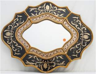 REVERSE PAINTED FLORAL MIRROR