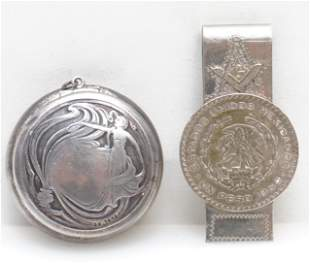 2 PC STERLING COMPACT & MASONS MONEY CLIP