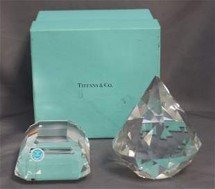 2 TIFFANY & CO CRYSTAL PAPERWEIGHTS