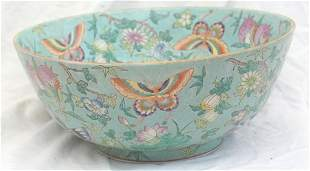 LARGE CHINESE PUNCH BOWL BUTTERFLIES