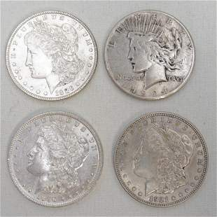 3 MORGAN and 1 PEACE SILVER DOLLARS