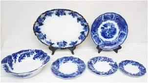 6 pc ANTIQUE FLOW BLUE - PLATTER - BOWL - PLATES