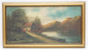 W. FORD OIL ON CANVAS LANDSCAPE W COTTAGE