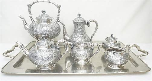 FINE CHINESE STERLING 8 PC TEA SERVICE