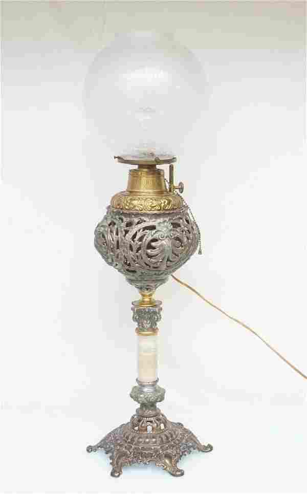 ANTIQUE B & H BANQUET PIANO LAMP ELECTRIFIED