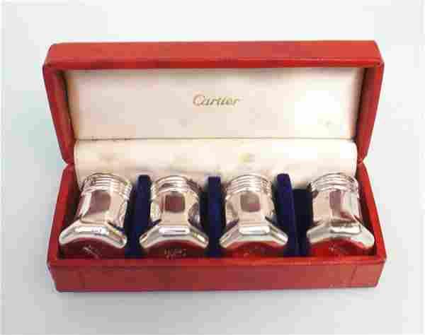 4 CARTIER STERLING SALTS IN ORIGINAL BOX