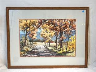 LARGE SCOTT HARTLEY WATERCOLOR COUNTRY ROAD