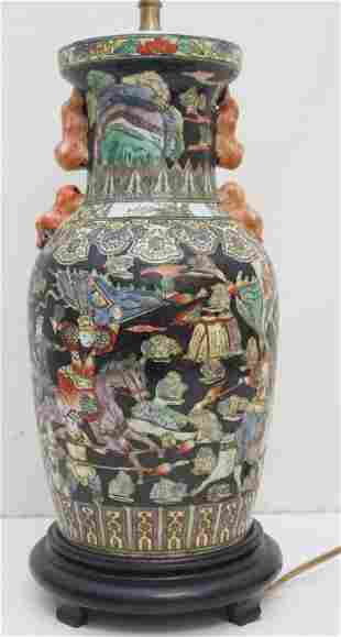 CHINESE PORCELAIN FAMILLE NOIRE LAMP WARRIORS