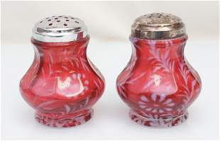 PAIR CRANBERRY OPALESCENT DAISY & FERN SUGAR SHAKERS