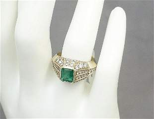 EMERALD & DIAMOND RING (SZ 7.5)