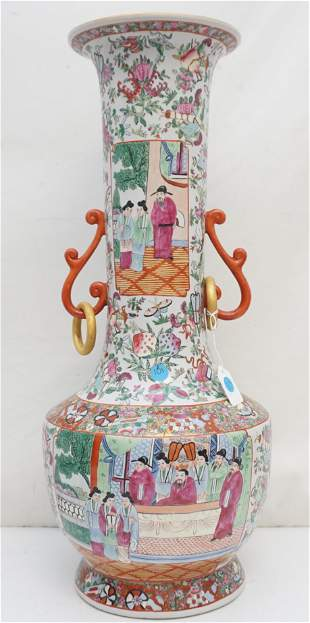 LARGE CHINESE EXPORT FAMILLE ROSE VASE