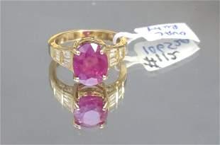 LARGE RUBY & DIAMOND COCKTAIL RING (SZ 7.25)