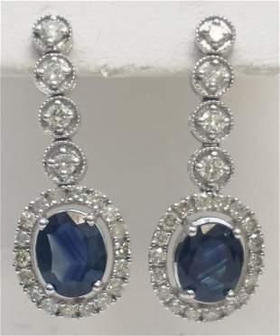 GORGEOUS SAPPHIRE & DIAMOND DANGLE EARRINGS