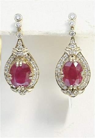 RUBY & DIAMOND DANGLE EARRINGS