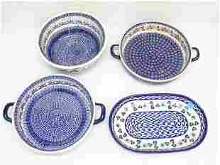 4 pc POLISH POTTERY HAND PAINTED BAKING DISHES PLUS