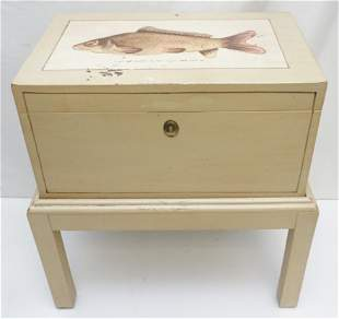 20TH C. HAND PAINTED FISH BOX ON STAND.