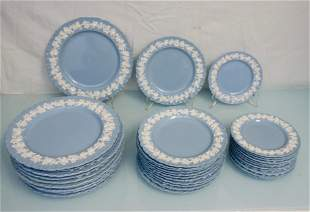 36 pc WEDGWOOD BLUE QUEENSWARE CHINA