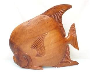 MID CENTURY LARGE CARVED WOOD ANGEL FISH