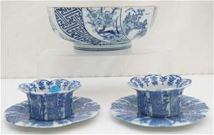 5 pc CHINESE BLUE & WHITE PORCELAIN