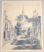 ALFRED HUTTY (1857-1954) ETCHING CHARLESTON SPIRES 1930