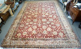 LARGE HAND KNOTTED FINE ISFAHAN 17 FT RUG