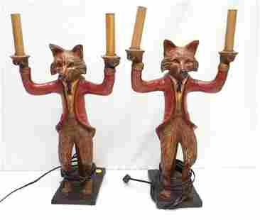 PAIR VTG BILL HUEBBE FOX LAMPS