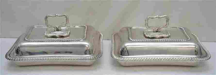 PAIR POTTER SHEFFIELD COVERED VEGETABLE DISHES