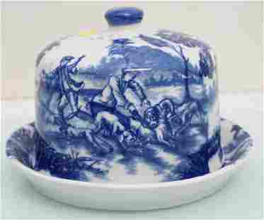 BLUE & WHITE IRONSTONE CHEESE DOME