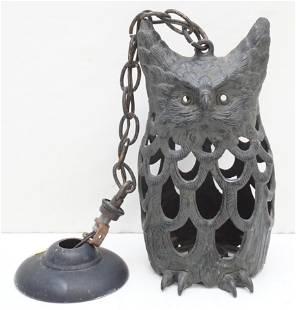 ANTIQUE JAPANESE IRON HANGING OWL LIGHT