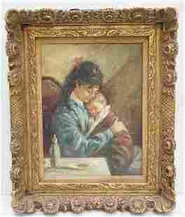 LUIS RAMON MOTHER & CHILD MID CENTURY OIL