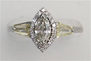 MARQUISE & TAPERED BAGUETTE DIAMOND RING