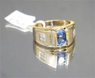 GENTS SAPPHIRE & DIAMOND RING (SZ 9.5)