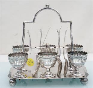 ANTIQUE ENGLISH SILVER PLATED EGG STAND