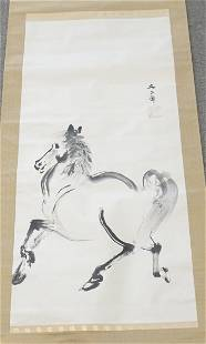 HAND PAINTED HORSE CHINESE SCROLL