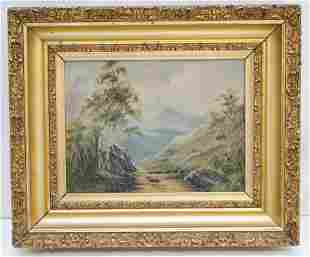 19th c MAINE OIL ON CANVAS LANDSCAPE