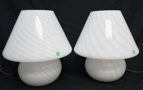 PAIR MID CENTURY MURANO MUSHROOM LAMPS