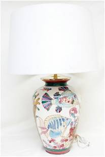 MID CENTURY PORCELAIN HAND PAINTED FISH LAMP
