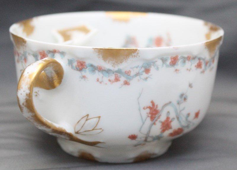 ANTIQUE 19th c HAVILAND LIMOGES MOUSTACHE CUP & SAUCER - 3