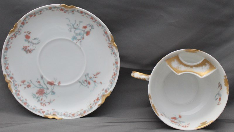 ANTIQUE 19th c HAVILAND LIMOGES MOUSTACHE CUP & SAUCER - 4