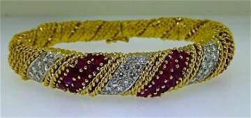 18k GOLD RUBIES & DIAMOND ROPE TWIST BANGLE BRACELET