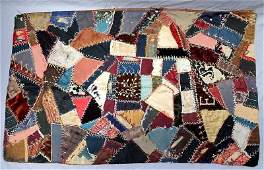 ANTIQUE C 1883 AMERICAN CRAZY QUILT