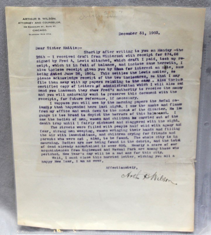 HISTORIC CHICAGO IROQUOIS THEATRE FIRE LETTER