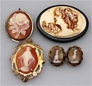 4 pc EDWARDIAN / VICTORIAN CAMEO BROOCHES